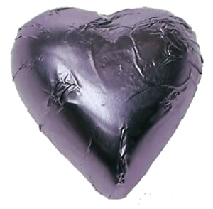 10 lilac foil Chocolate  hearts in organza pouch