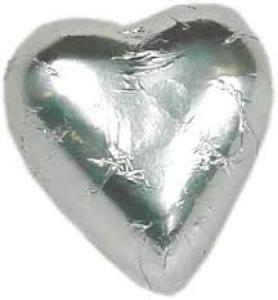 10 Silver foil chocolate hearts in organza pouch