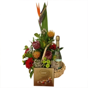 Tropical Native christmas basket with Verdi & Lindt Chocolates