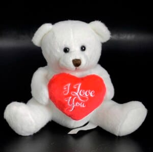 Small white I love you heart bear