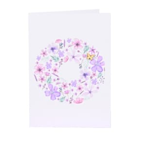PInk/Mauve Flowers and Butterfly gift Card