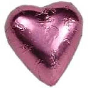 10 Pink foil chocolate hearts in organza pouch