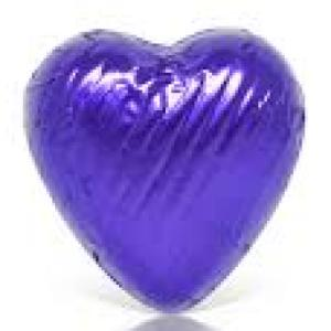 10 Purple foil chocolate hearts in organza pouch