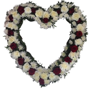 Open heart wreath from
